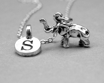 Elephant Necklace charm 3D antiqued silver plated pewter, initial necklace, initial hand stamped, personalized, monogram