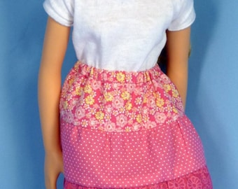 Peasant Skirt or Petticoat Pattern to fit 5 dolls, Like Hearts for Hearts Girls, Best Friends Club Ink, Groovy Girl, large slim dolls