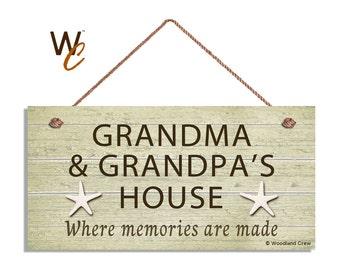 """Grandma and Grandpa's House Sign, Where Memories Are Made, Weathered Khaki Beach Sign, Grandparents Gift,  5"""" x 10"""",  Starfish"""