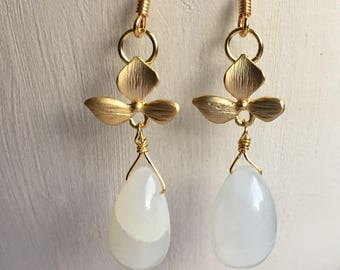 Moonstone and orchid earrings