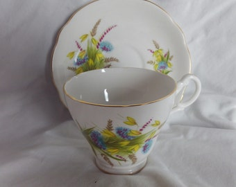 Blue Flowered Bone China teacup and saucer