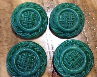 Lot of 4 Vintage Lacy Green Glass Buttons-Faux Woven Fabric