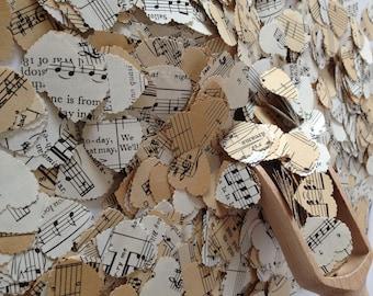 Vintage Music Sheet Heart Wedding Confetti- Vintage Shabby Chic - wedding table decoration, baby shower decoration, musical wedding