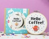 Hello coffee, cross stitch kit, modern cross stitch, cross stitch, gifts for her, coffee, cross stitch kit- mothers day, mothers day gift