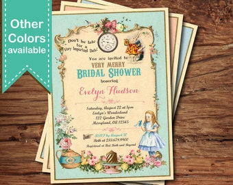 Bridal shower invitation mad hatter tea party invitation alice in wonderland bridal shower invitation mad hatter tea party invitation vintage turquoise afternoon tea garden party printable bs112 filmwisefo