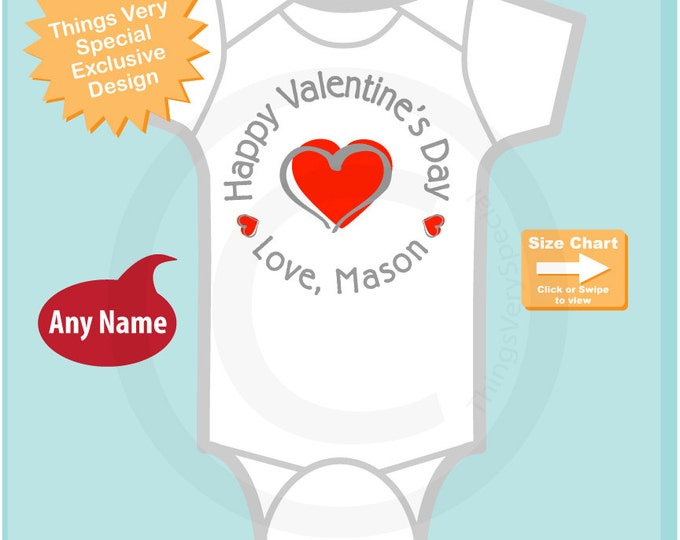 Boy's Happy Valentine's Day Shirt or Onesie with Red Heart Personalized with Child's name - Heart tshirt kids (12292014e)