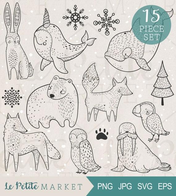 Dibujado a mano Ártico Clip animales arte Set animales