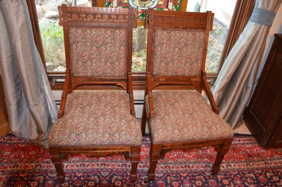 - Pair Of Eastlake Antique Victorian Walnut Side Chairs Dining