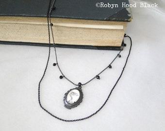 Adler Totenkopf Halskette - Glas-Kabine mit der 1920er Jahre Bild auf Perlen schwarz-Kette