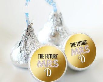 108 Bridal Shower Future Mrs Hershey Kiss Stickers  - Bridal Shower Kiss Labels - Future Mrs Kiss Labels - Bridal Shower Decor - Mrs Kisses