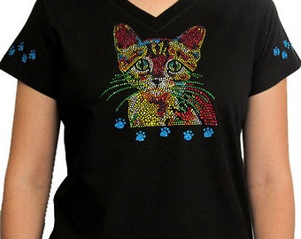 Rhinestone Colorful Cat bling kitty shirt, bling kitty t-shirt, bling cat shirts, rhinestone bling shirts, rhinestone tshirts, bling t shirt