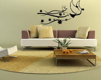 Vinyl Wall Decal Sticker Peace Doves 1116B