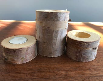 Birch Candle holders #2 (from Wisconsin) tea lights