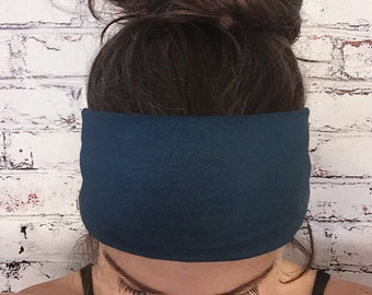 Solid Color Headband - Navy Blue - Dark Blue - Eco Friendly Headband - Choose Regular, Tie-back, or Extra Wide