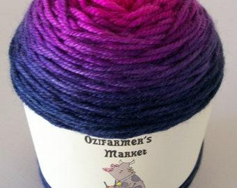 Moolah DK- 8ply gradient dyed hot pink to navy blue merino/cashmere/nylon  blend yarn - Mikiv