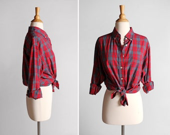 Vintage Red Plaid Button Up - Oxford Plaid Fall Top Shirt Long Sleeve Blouse Retro Boyfriend Outdoors Country - Size Large or XL