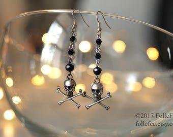 Gothic skull earrings Punk earrings Skull earrings Rock earrings Rock jewelry Goth jewelry Halloween jewelry