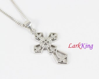 Cross necklace, sterling silver cross necklace, flower cross pendant, cross necklace women, cross charm, christian cross, cross gift, NE8233