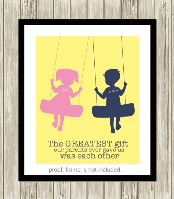Brother and sister wall art siblings art personalized kids