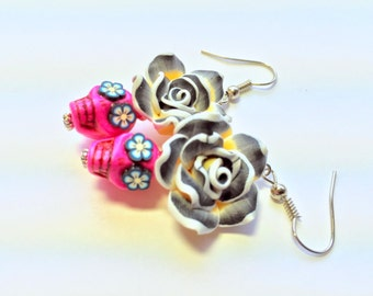 Pink Black Yellow Day of the Dead Roses and Sugar Skull Earrings
