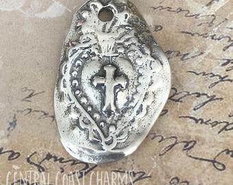 Sacred Heart Cross Artisan Charm Pendant - 925 Sterling Silver - 28mm - Religious Faith Milagro Bracelet Necklace - Central Coast Charms