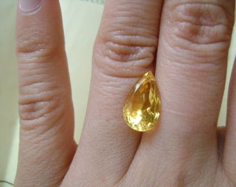 Beautiful Natural Genuine Loose Citrine Stone Gemstone Yellow Luster Classic Faceted Pear Cut 4.03 Carat Size 14 X 8 MM Appraised Value 200