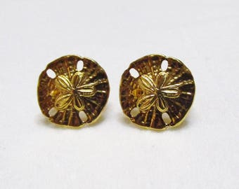 Crown Trifari sand dollar clip on earrings 1950s