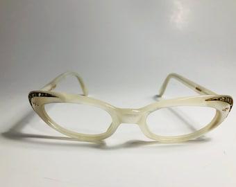 New Old Stock, Vintage White Pearl Rhinestone Cat Eye Glasses Frames, 60s Cat Eyeglasses, NOS, Swank Gold Cateye Eyglasses Sunglasses Frames