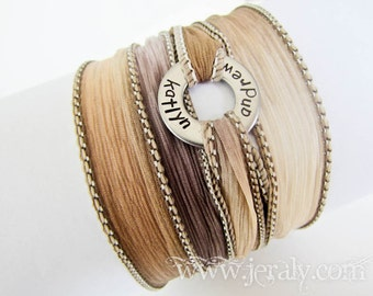 Yoga Silk Wrap Bracelet with Custom Stamped Washer - Personalized with Name on Chunky Stainless Steel Circle - Yoga Jewelry