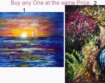 Original Seascape, Landscape Painting, impressionist, Modern, Contemporary Colorful Scenery, NiagaraFall, Christmas, Giftideas - Harsh Malik