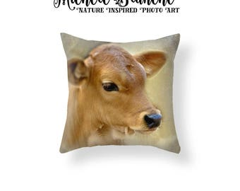 Cow Photo Pillow, Calf Pillow Cover, Rustic Farm House Decor, Vintage Look Nursery Cow Toss Pillow, Cute Baby Farm Animal Throw Pillow Cover