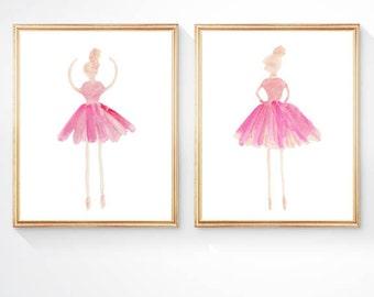 Little Girl Gift, Set of 2 - 8x10 Watercolor Prints, Ballerina Decor, Ballet Print, Ballerina Art, Ballerina Sisters, Ballet Wall Decor