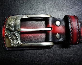 Leather Belt skull bronze buckle