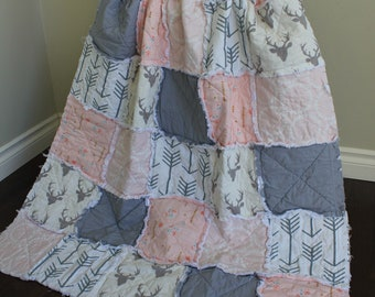 Crib Quilt, Pink Deer Quilt, Rustic Decor, Rag Quilt, Crib Bedding, Decor, Grey Pink, Rustic Quilt, Arrows, Baby Rag Quilt, Ready To Ship