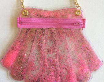 Pink Glitter Sea Shell Purse