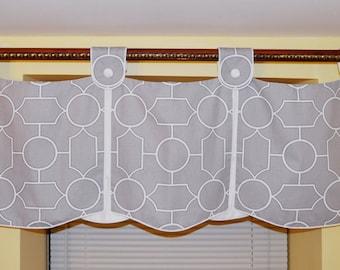 Grey Geometric Window Valance | Window Treatment | Curtain | Paisley Pattern