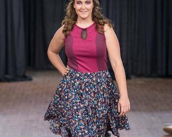 Burgundy dress with flowy floral skirt.