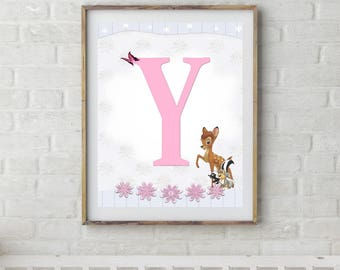 Bambi, Bambi Letters, Letter Y, Alphabet Letter Y, Bambi Nursery, Baby Initial, Initial Print, Woodland Letter Y, Disney Nursery Prints