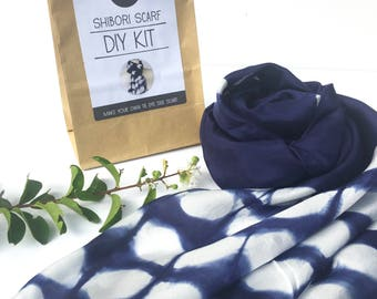 DIY Shibori scarf KIT, Silk scarf kit, shibori kit, tie dyed scarf kit, make your own indigo blue shibori silk scarf,handmade, makes 1 scarf