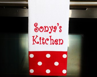 Personalized Kitchen Towel - Lipstick Red   Housewarming Gift   Hostess Gift   Gifts for Her   Wedding