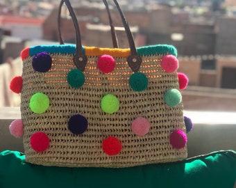 basket bag with pompoms, pompom straw bag, personalized straw bag, customized beach bag, market bag, market tote, toy storage basket