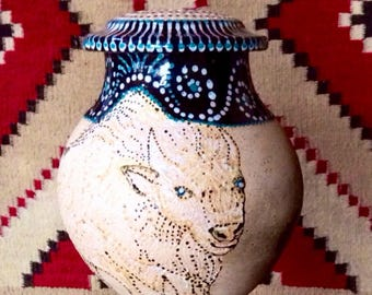 White BuffaloCremation Urn White Mica Clay Taos, New Mexico Ready to Ship