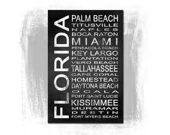 Florida State 2 Subway Sign Fine Art Print | Modern Chalkboard Typography