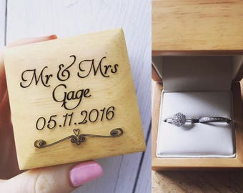 Personalised Ring Box, Personalized Ring box, Wedding ring box, Engagement Ring Box, ring bearer, Valentines gift, Gift for her