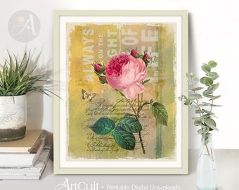 Printable Wall Art CHARMING ROSE Digital Download 8x10 inch designed artwork ArtCult Images for Home decoration and DIY craft projects