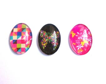 3 cabochons glass multicolores18x25mm pink paper