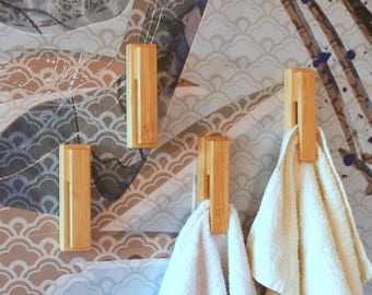 Set of 4 alder towel hooks, wood towel holders, bathroom wall hook, modern wall hooks, wall hook, bath towel hooks, kitchen towel hooks