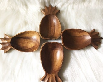 Set of Four Vintage Monkey Pod Wood Pineapple Bowls