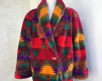 Vintage 1980s faux fur oversized jacket Aztec Southwestern theme neon colors by Donnybrook sz Medium