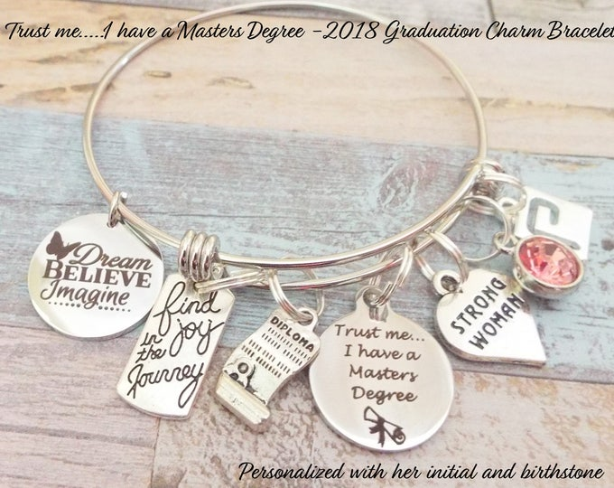 Graduation Gift, Girl Graduation Gift, Masters Degree Graduation Charm Bracelet, Gift for Graduate, 2018 Graduation Gift, Personalized Gift
